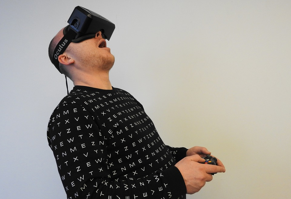 Man amazed by VR technology